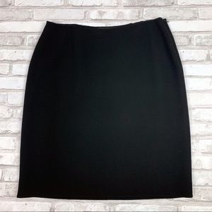 Linda Allard Ellen Tracy Black Wool Pencil Skirt